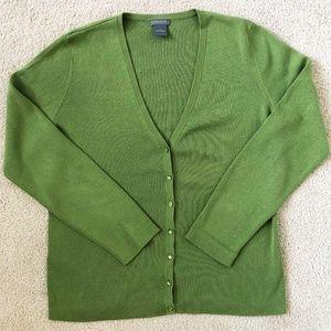 Ann Taylor Petites Cardigan Silk Blend Green LP